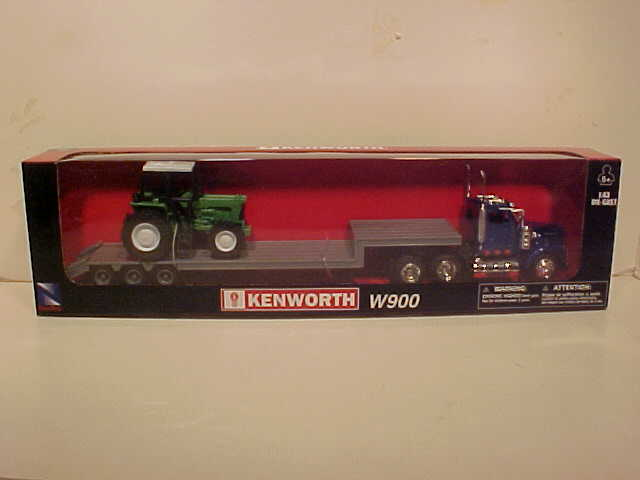 Kenworth W900 Lowboy with Farm tractor Semi Truck Kenworth W900Log Hauler Semi Truck Kenworth W900Log Hauler Semi Truck