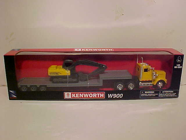 Kenworth W900 Low Boy with Crane Semi Truck