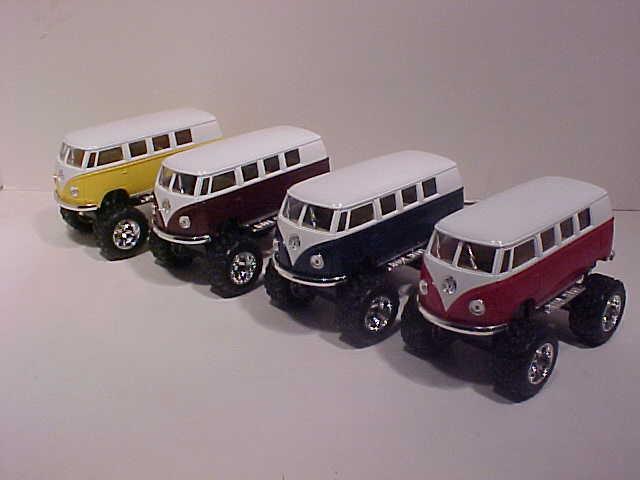 12 Pack 1962 VW Bus Volkswagen Van Die-cast 1:32 Kinsmart 5 inch Surfboard Brown